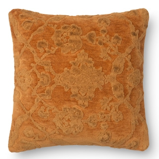 Decorative Damask Amber Feather and Down Filled or Polyester Filled 18-inch Throw Pillow or Pillow Cover