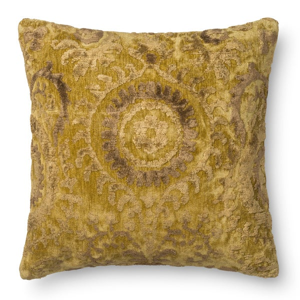 Decorative Damask Light Gold Feather and Down Filled or Polyester Filled 22-inch Throw Pillow or Pillow Cover