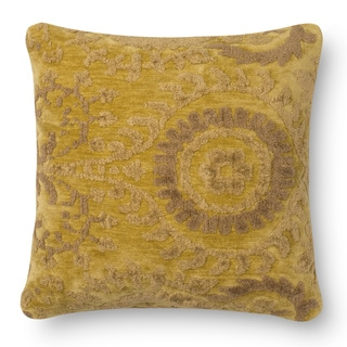 Decorative Damask Light Gold Feather and Down Filled or Polyester Filled 18-inch Throw Pillow or Pillow Cover