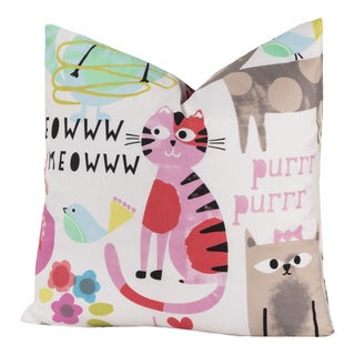 Crayola Kids' Purrty Cat Polyester and Down Alternative Decorative Toss Throw Pillow