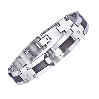 Men's Tungsten Carbon Fibre 1/5ct TDW Diamond Bracelet (H-I, I2-I3) by Ever One
