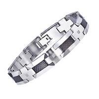 Men's Tungsten Carbon Fibre 1/5ct TDW Diamond Bracelet (H-I, I2-I3) by Ever One
