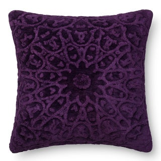 Decorative Damask Purple Feather and Down Filled or Polyester Filled 22-inch Throw Pillow or Pillow Cover