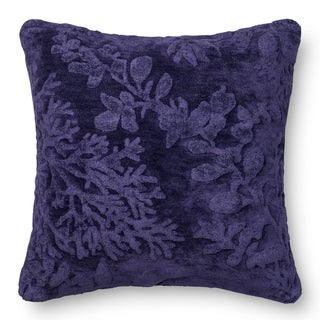 Decorative Damask Blue Berry Feather and Down Filled or Polyester Filled 22-inch Throw Pillow or Pillow Cover