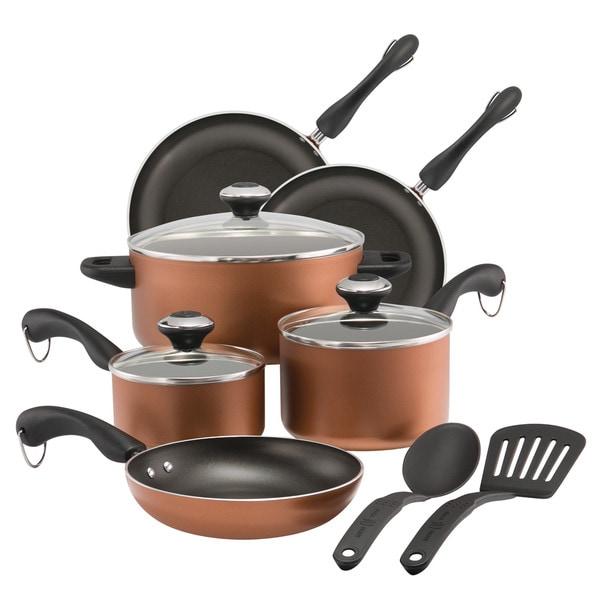 shop paula deen dishwasher safe nonstick cookware set 11 piece copper free shipping today. Black Bedroom Furniture Sets. Home Design Ideas