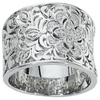 Sterling Silver Diamond 1/10ct TDW Wide Band by Ever One