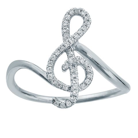 Sterling Silver 1/6ct TDW Treble Diamond Ring by Ever One