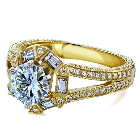 Annello by Kobelli 14k Yellow Gold 1 1/2ct TCW Forever One Moissanite Diamond Open Shank Art Deco Engagement Ring
