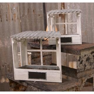 White Wood Planter Box (Set of 2)