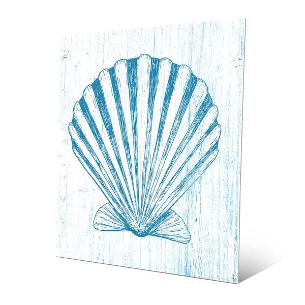 Seashell On Blue Metal Abstract Wall Art Overstock 12917737