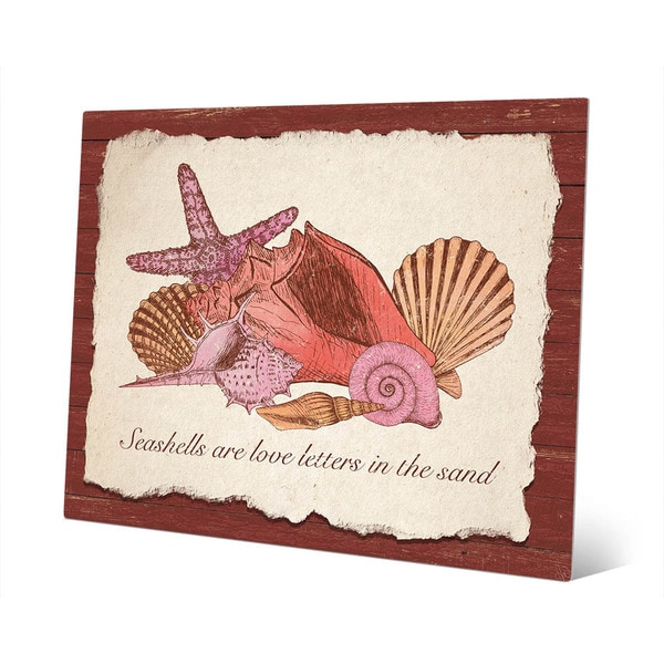 X27 Seashell Love Letters Red Metal Wall Art