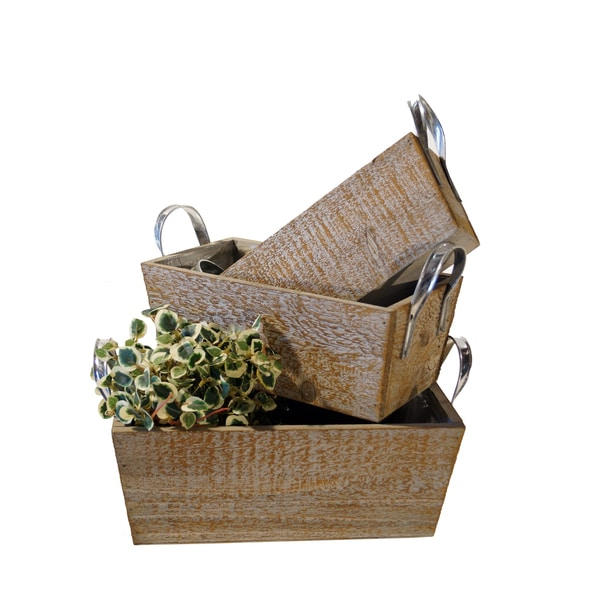Wood Boxes With Handles (Set of 3)