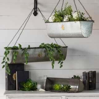 Galvanized Metal Hanging Planters (Set of 3) - 8' x 10'