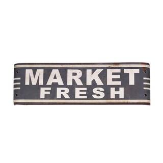 'Market Fresh' Grey Metal Sign Wall Art