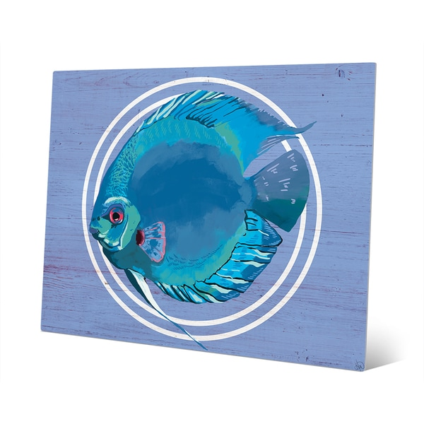 'Rainbow Fish' Cyan Metal Abstract Wall Art
