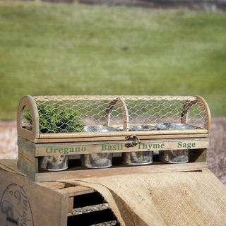 Wooden Brown Planter Box With Mesh Top