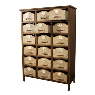 Brown Wood and Metal 18-drawer Cabinet