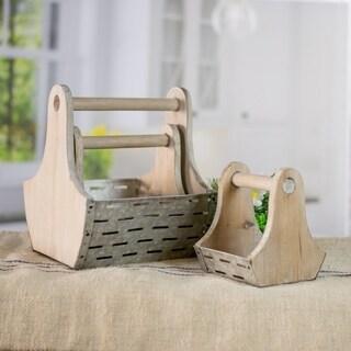 Wood/Metal 3-piece Basket Set