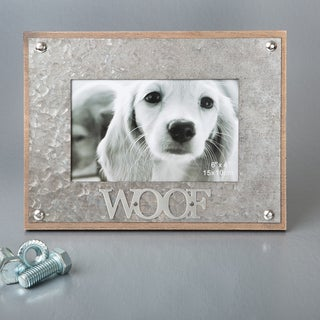 'Woof' Metal Industrial-style 4-inch x 6-inch Photo Frame