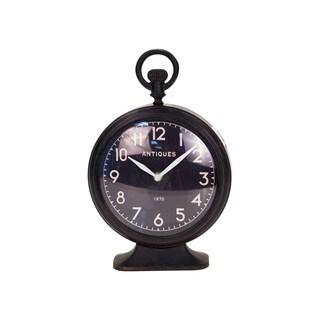 MTL. Black Distressed Metal Tabletop Clock