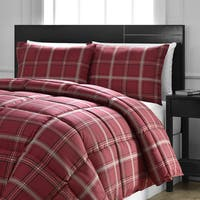 Comfy Bedding Red Plaid Down Alternative 3-piece Comforter Set