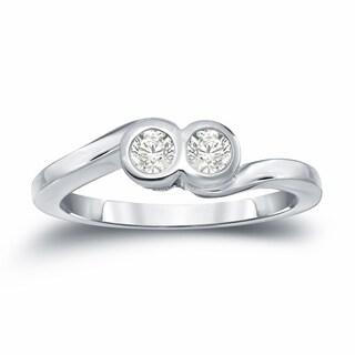Auriya 14k Gold 1/4ct TDW 2-Stone Round Cut Diamond Engagement Ring (J-K, I1-I2)