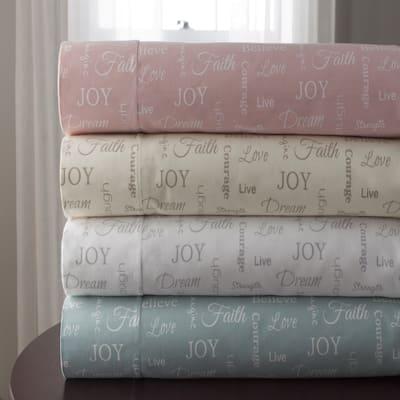 Inspirational Microfiber Print Bed Sheet Sets