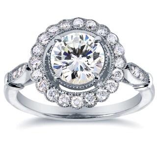 Annello by Kobelli 14k White Gold 1 1/3ct TCW Forever One Moissanite Diamond Full Bloom Flower Engag