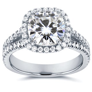 Annello by Kobelli 14k White Gold 2 1/2ct TCW Forever One DEF Moissanite and Diamond Halo Split Shank Engagement Ring