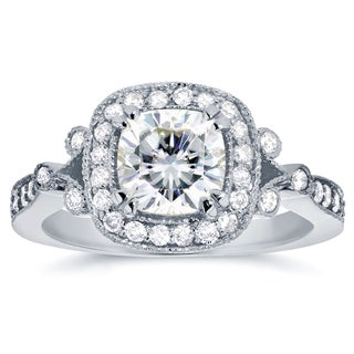 Annello by Kobelli 14k White Gold Cushion-cut Forever One Moissanite and 3/8ct TDW Diamond Antique H