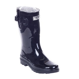 Women Mid-calf Black Rubber 14-inch Rain Boots