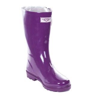 Women's Purple Rubber 14-inch Rain Boots