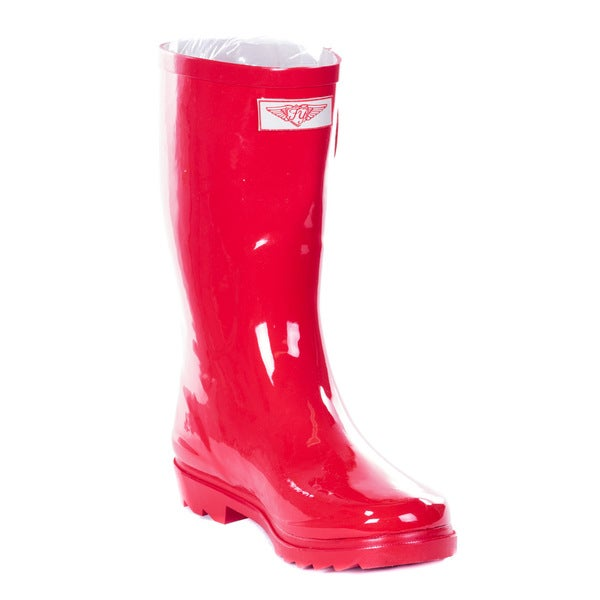 Women Mid-calf Red Rubber 14-inch Rain Boots