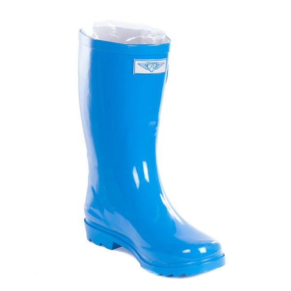Women Turquoise14-inch Mid-Calf Rubber Rain Boots. Opens flyout.