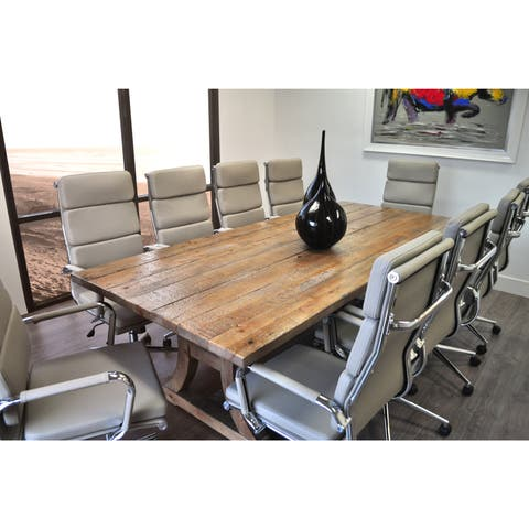 SOLIS Ligna Solid Wood Table and Bonded Leather Office Chairs 11-piece Conference Set