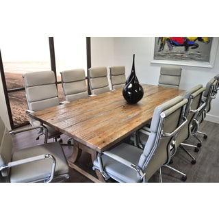 SOLIS Ligna Solid Wood Table And Bonded Leather Office Chairs 11 Piece  Conference Set