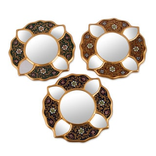 Set of 3 Handcrafted Plywood 'Floral Glory' Reverse Painted Glass Wall Mirrors (Peru)