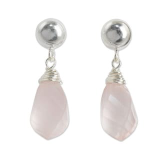 Handmade Sterling Silver 'From Chiang Mai With Love' Rose Quartz Earrings (Thailand)