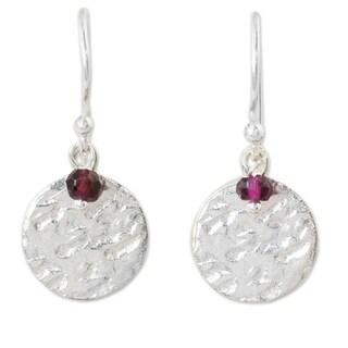 Handmade Sterling Silver 'Red Harvest Moon' Garnet Earrings (Thailand)