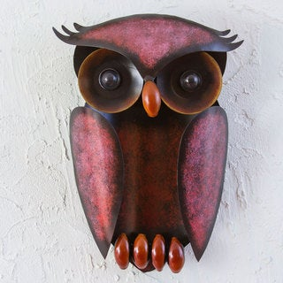 Handcrafted Iron 'Protective Owl' Wall Sculpture (Mexico)