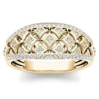 De Couer 10k Yellow Gold 1/5ct TDW Diamond Fashion Ring