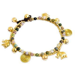 Handmade Brass 'Elephant Bells' Agate Anklet (Thailand)