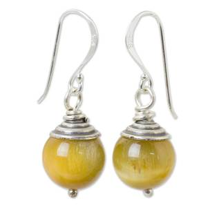Handcrafted Sterling Silver 'Sensation' Tiger's Eye Earrings (Thailand)
