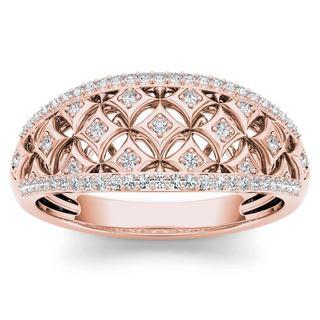 De Couer 10k Rose Gold 1/5ct TDW Diamond Fashion Ring - Pink