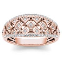 De Couer 10k Rose Gold 1/5ct TDW Diamond Fashion Ring - Pink