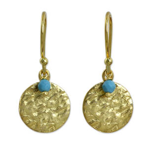 Handcrafted Gold Overlay 'Aqua Harvest Moon' Blue Calcite Earrings (Thailand)