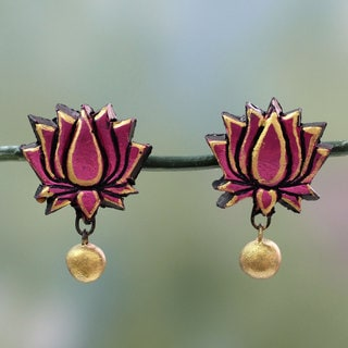 Handcrafted Terracotta 'Lotus Majesty' Earrings (India)