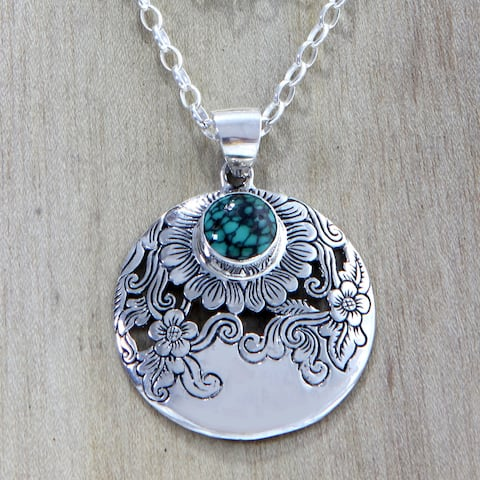 Handmade Sterling Silver 'Sunflower Garden' Turquoise Necklace (Indonesia)