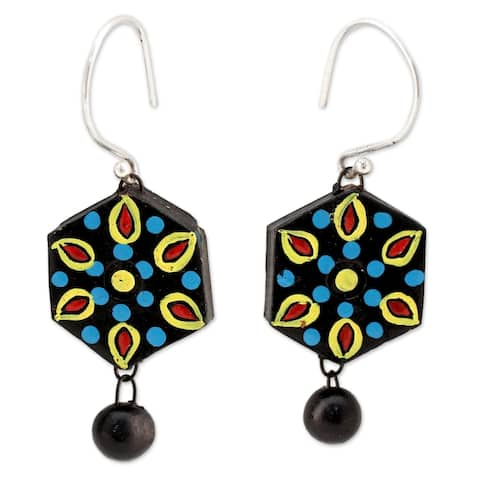 Ceramic 'Mughal Midnight' Earrings - Multi