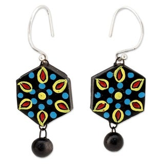 Handcrafted Ceramic 'Mughal Midnight' Earrings (India)